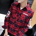 2017 Весной и Осенью Новый мужская без железа с длинными рукавами щеткой плед рубашка Корейский Slim fit with a письмо мужской молодежный бренд clothi