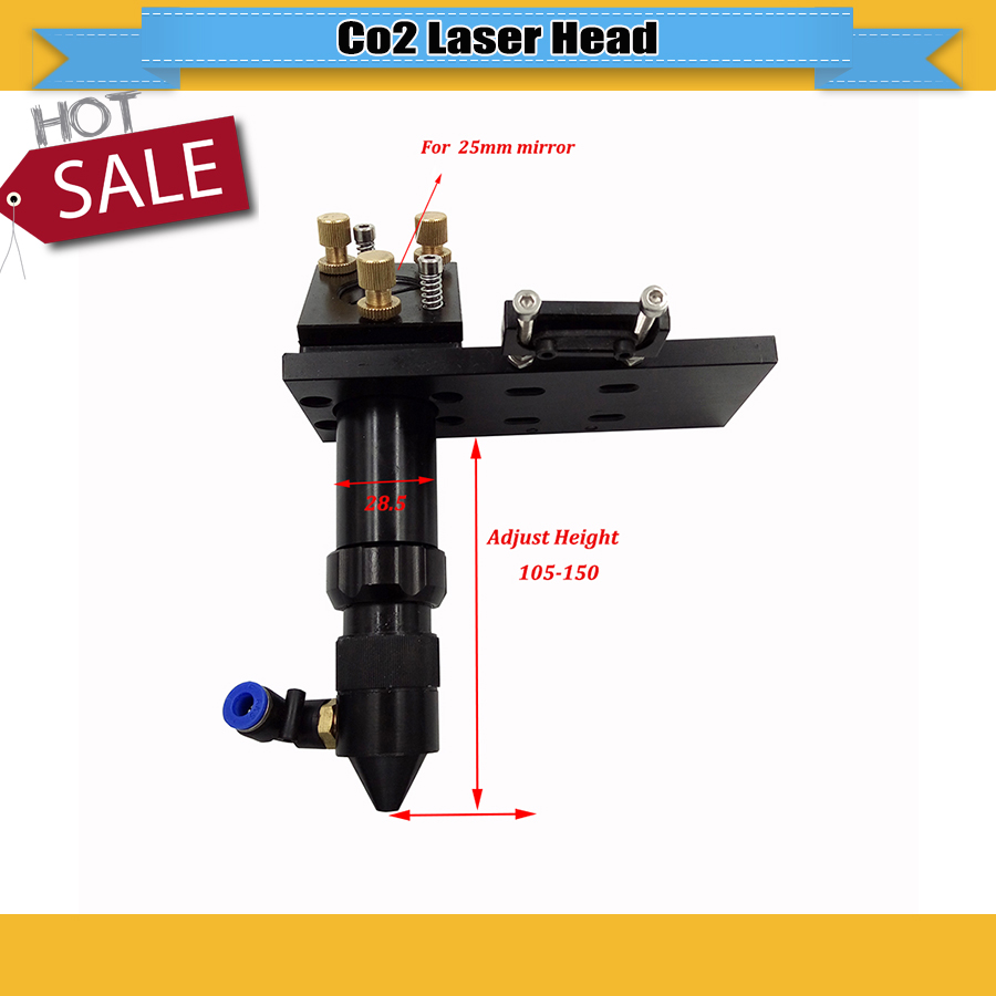Hot Sell Co2 Laser Head For Focus Lens Dia.20 FL.50.8 & 101.6mm & Mirror 25mm Mount Laser Engraver Machine