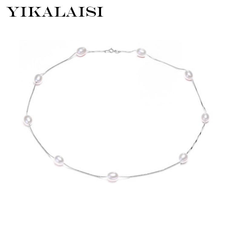 a6a9e9ecdcc7 2017 Perlas Naturales de la Manera Gargantillas Collares 925 Joyería de  Plata esterlina Para Las Mujeres
