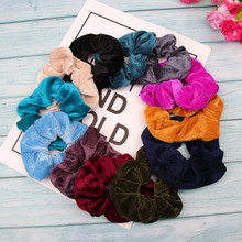 Hair Accessories Solid Velvet Hair Scrunchies Gum Ponytail Holder Ruber Bands Women Winter Hair Rope Ties Headband For Girls(China)