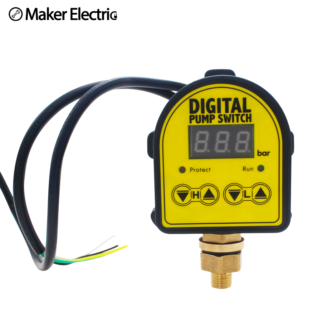 Free EU Plug Water Pump Pressure Switch Digital Automatic Hydraulic Compressor Digital Water Pump Controller 20mm Close Nipple
