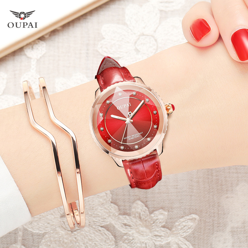 OUPAI Watch Women Exquisite Top Luxury Diamond Quartz Ladies Fashion Leather Wristwatch watches saat relogio feminino