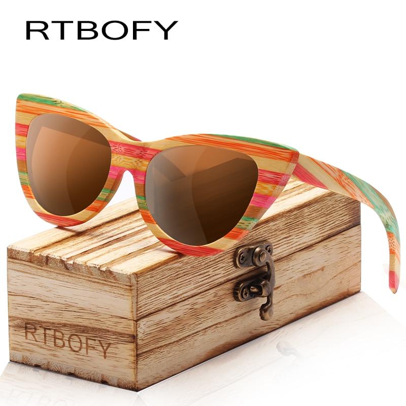 RTBOFY Holz Sonnenbrille Frauen Bunte Bambus Rahmen Cat Eye Stil Polarisierten Gläser Gläser Vintage Design Shades