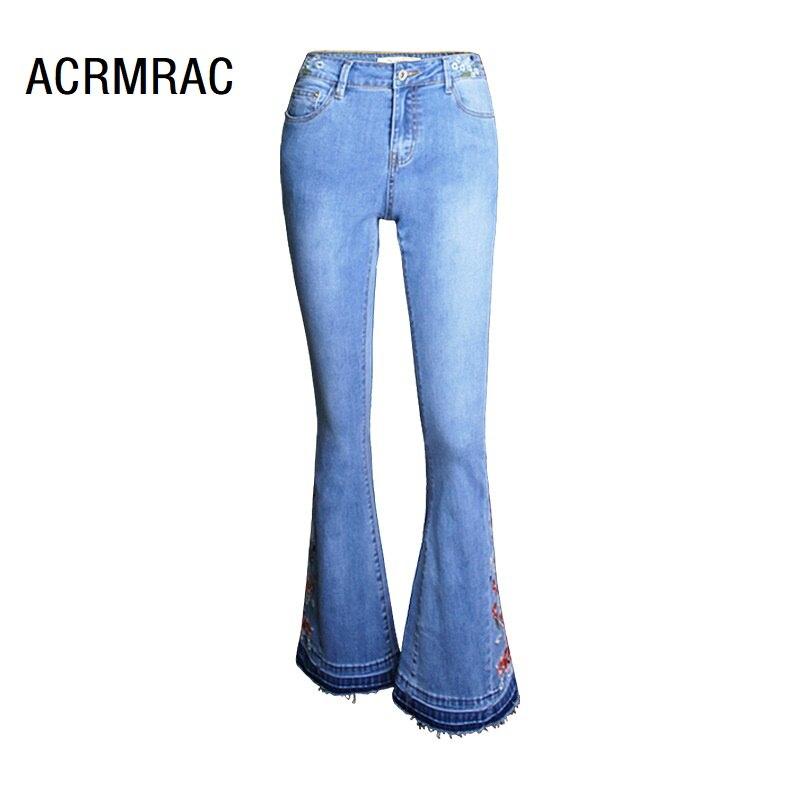 Femmes jeans Slim printemps automne jeans taille moyenne broderie pantalons jambes larges jeans femmes AM097