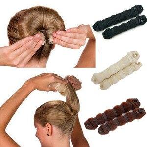 Image 1 - 2pcs Women Hair Styling Former Magic Sponge Bun Maker Donut Ring Shaper Foam Braider Tool For Women DIY Hair Accessories