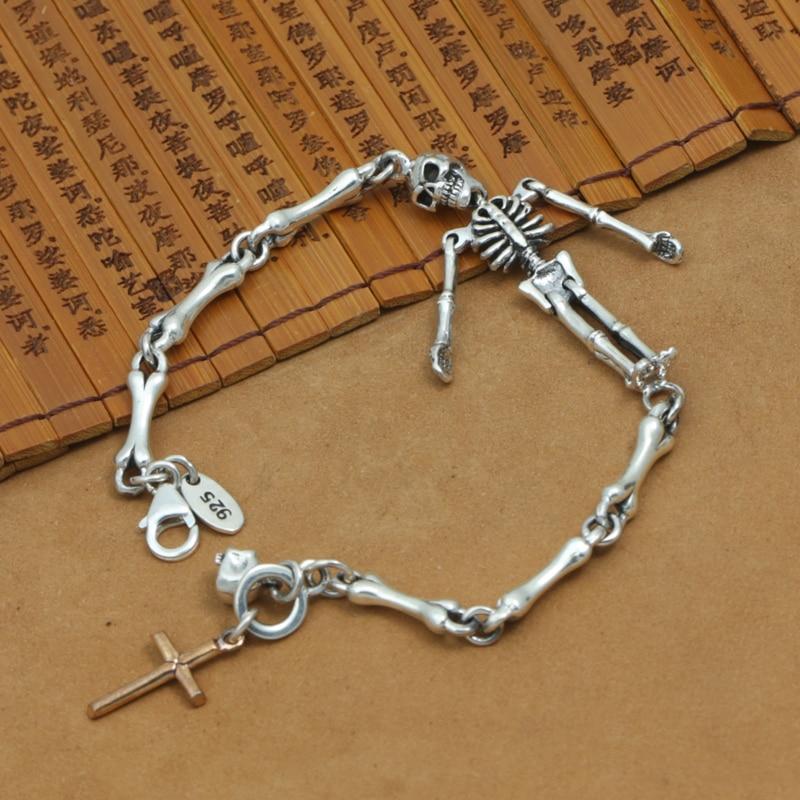 NEW Thailand 925 Silver Skull Bracelet Vintage Sterling Silver Cross Skull Chain Bracelet Real Silver Skeleton