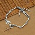 Новый! Таиланд 925 серебряный браслет черепа старинные серебряный крест череп цепь настоящее серебро скелет браслет