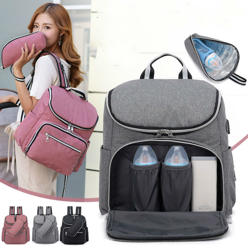 2019 New Diaper Bag Solide Maternity Bags Baby Mummy Waterproof Maternity Diaper Bag USB Maternity Bag For Stroller Baby Care
