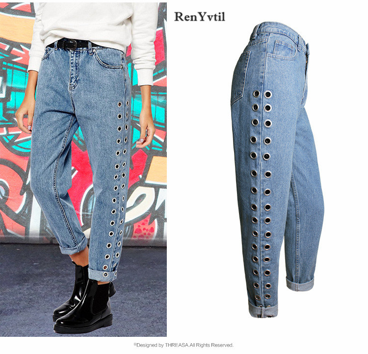 RenYvtil High Waist BF Street Hip Hop Style Rivet Women Spring Autumn European Fashion Ladies Vintage Denim Pants Washed Jeans women jeans autumn new fashion high waisted boyfriend street style roll up bottom casual denim long pants sp2096