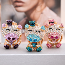 12Pcs High Grade Different Styles Cute Pig Pendant Bag Charm Keychain Key Holder Crystal Rhinestone Car Chain Chaveiro P31