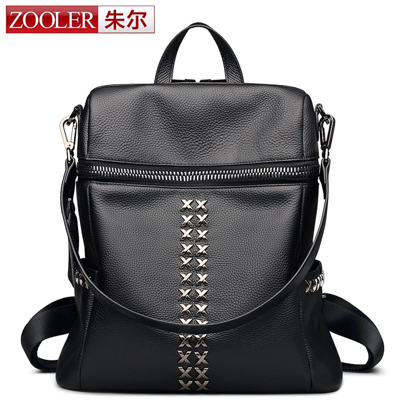 ZOOLER Simple Style Backpack Women Genuine Leather Backpacks For Teenage Girls School Bags Fashion Vintage Solid Shoulder Bag women backpack large school bags for teenage girls shoulder bag vintage pu leather backpacks black casual solid rucksack xa83h