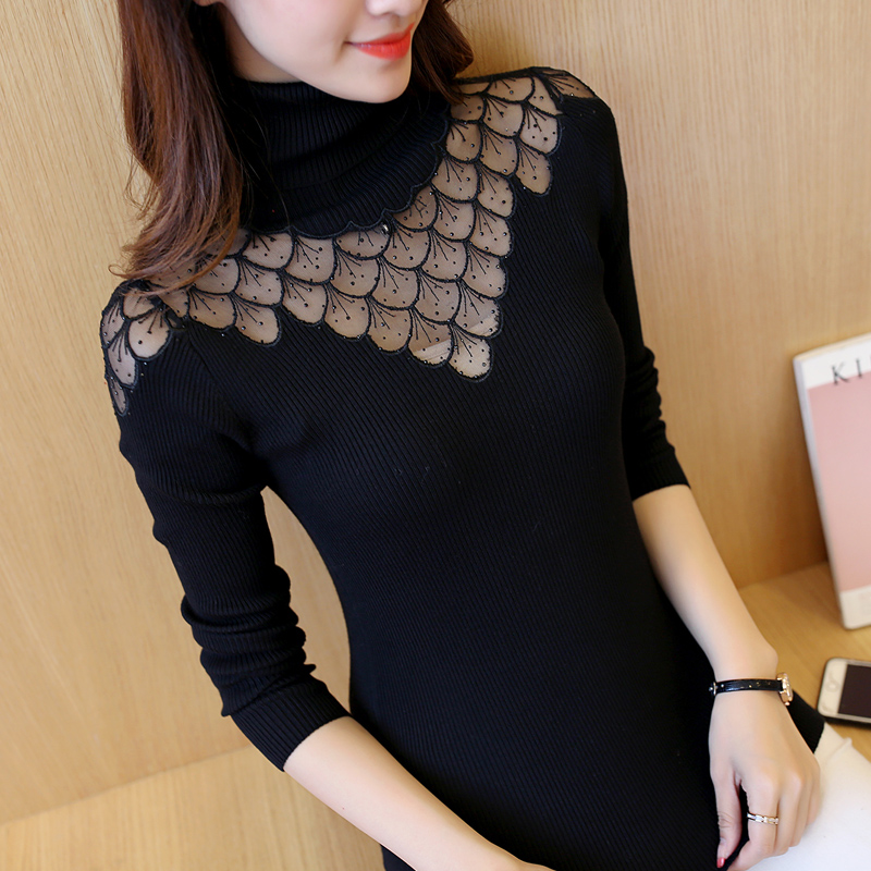 2019 Spring Autumn Women Long Sleeve Knitted Sweater Sexy Lace Splicing Turtleneck Knitwear Pullover Slim Solid Bottoming Shirts