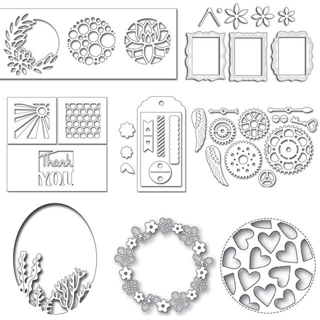 29 Styles Circle Rectangle Tag Frames Metal Cutting Dies Stencil for ...