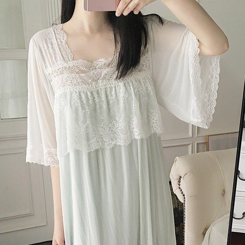 18f3c5047779 Camisones de verano de manga corta de mujer Modal interior de gasa dulce  ropa de dormir elegante para mujer camisas de dormir princesa vestido de  dormir ...