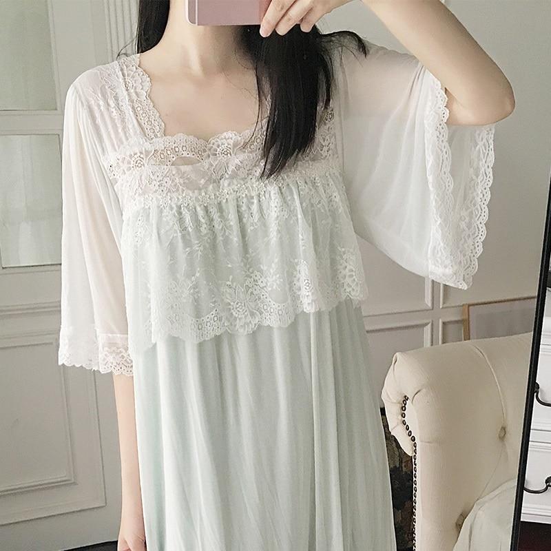Summer Short Sleeve Women's  Nightgowns Modal Inner Gauze Sweet Sleepwear Elegant Female Sleepshirts Princess Sleep Dress 2226
