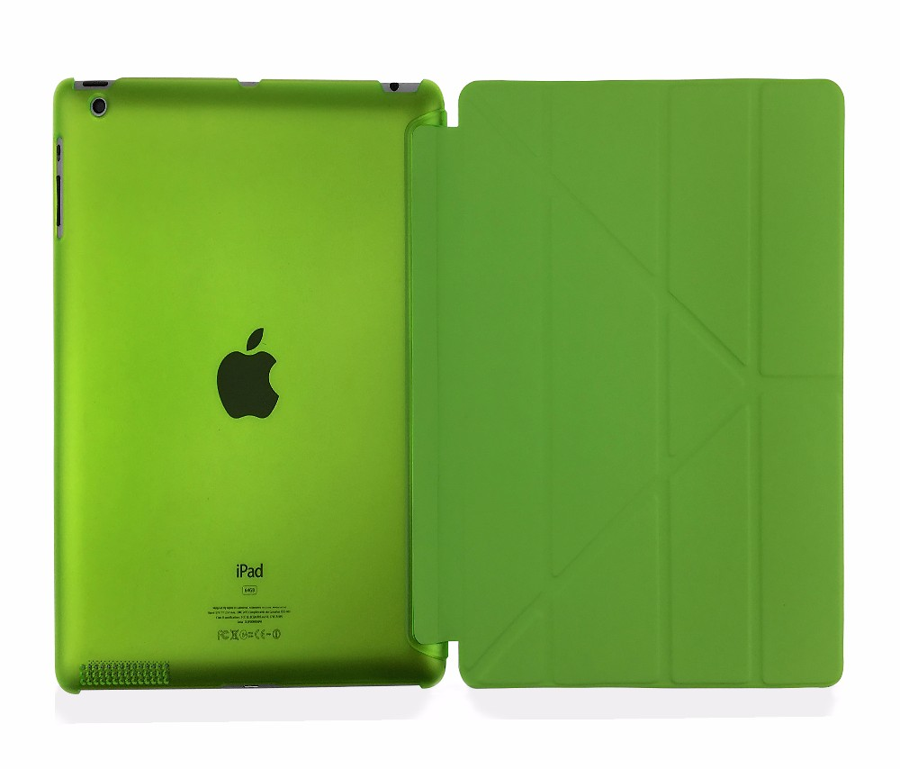 Case For Ipad 2 Ipad 3 Ipad 4 Deformation Folding PU Leather Slim Magnetic Front Smart Cover Skin+Hard PC Back Tablet Case