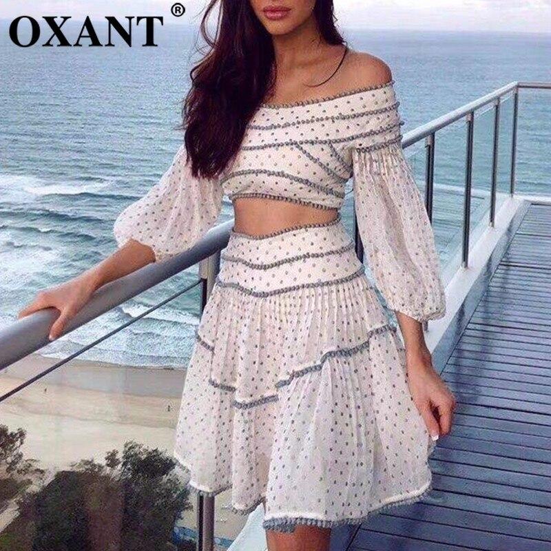 OXANT Dot jupe costumes Femael Slash cou Patchwork lanterne manches chemise courte avec taille haute une ligne jupes été doux