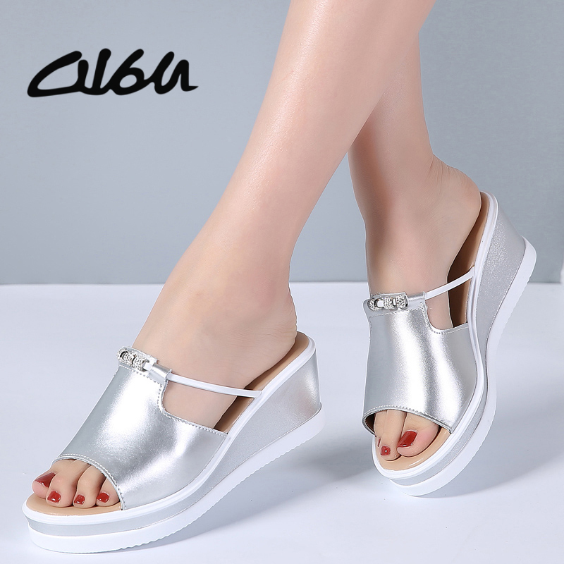 O16U Summer Women Slippers Leather Peep Toe Thick Soled Outside Flip Flops Shoes Women Wedges Flat Slides Shoes Ladies Sandals aimeigao large size summer slides women slippers ladies flat heels shoes open toe comfortable outside slippers women shoes