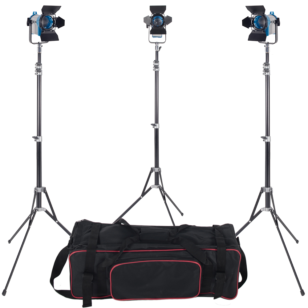 3 X 150W Studio fresnel tungsten light fixture with dimmer control Spotlight Video Light Kit Lighting with Carry Case and Stand