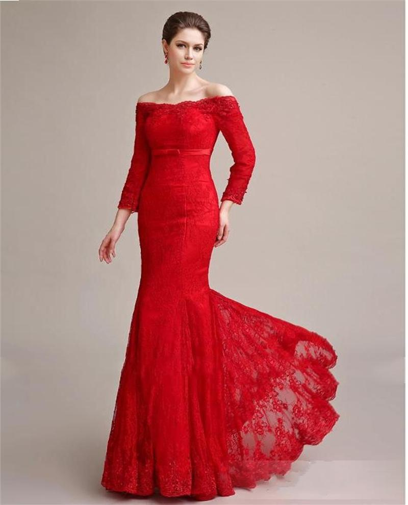 Wedding Red Evening Gown red evening gown with sleeves gommap blog elegant long sleeve lace dresses sexy off shoulder mermaid gowns 2017 prom