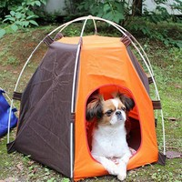 Portable Folding Camping Pet Dog Cat Tent House Shelter Rainproof Sunscreen Washable Indoor Outdoor Camping Puppy Pet Tent Bed