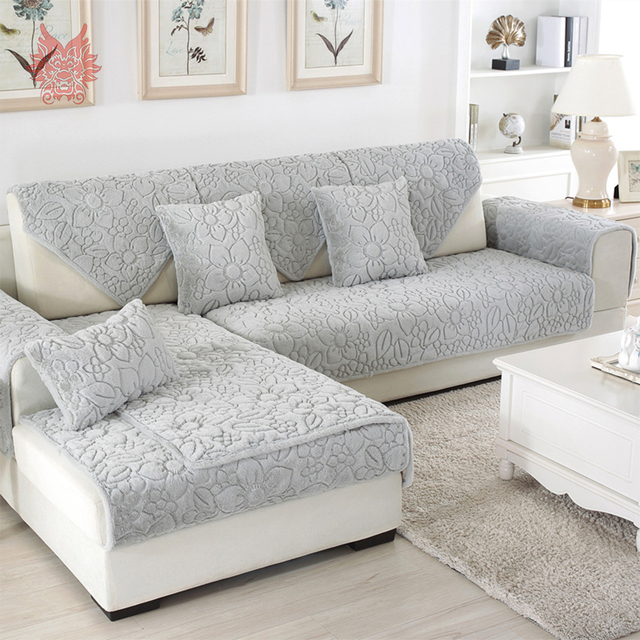White Grey Fl Quilted Sofa Cover Plush Long Fur Slipcovers Fundas De Sectional Couch Covers
