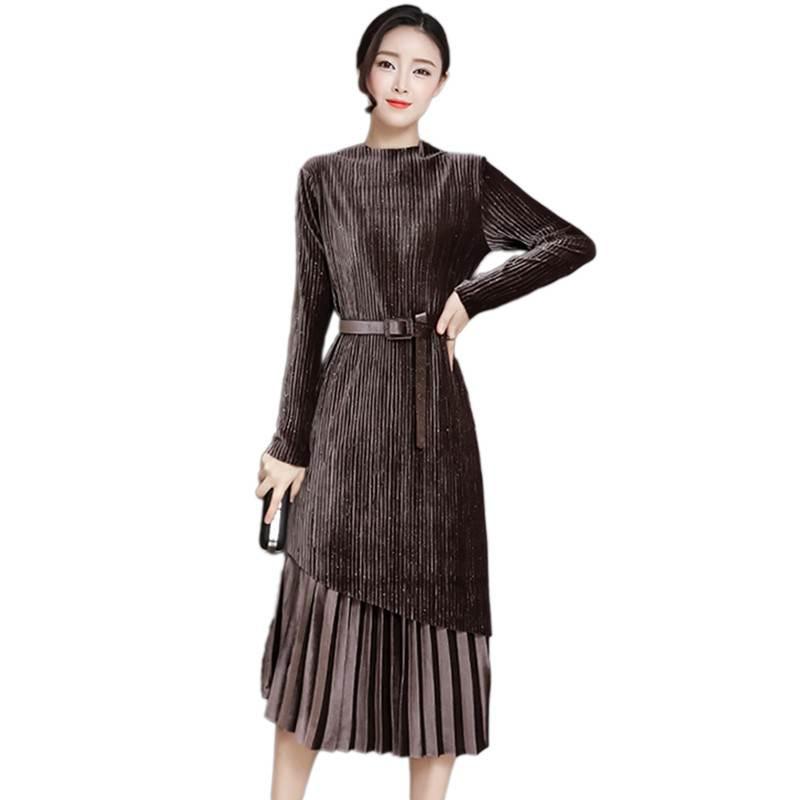 NIUBIA Womens Velvet Dresses T-Shirts Button Down Cowl Neck Long Sleeve Tunics Casual Swing Mini Dress