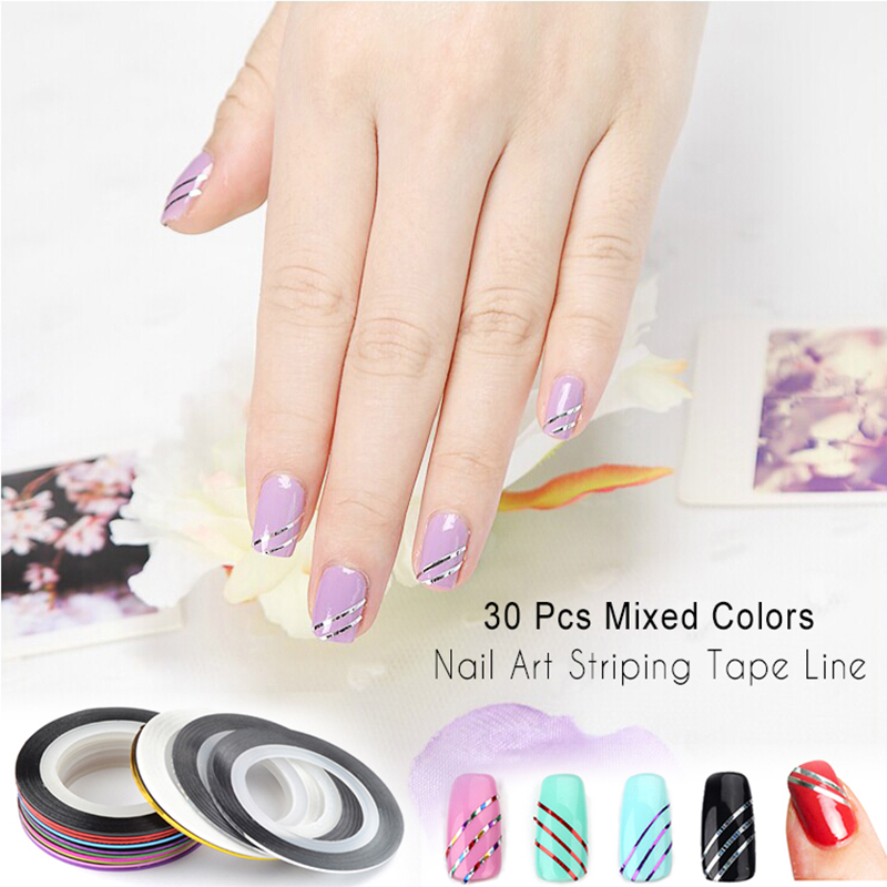 Striping Tape Line Nail Art: 10 Pcs Mixed Colors Nail Art Striping Tape Line DIY Nail