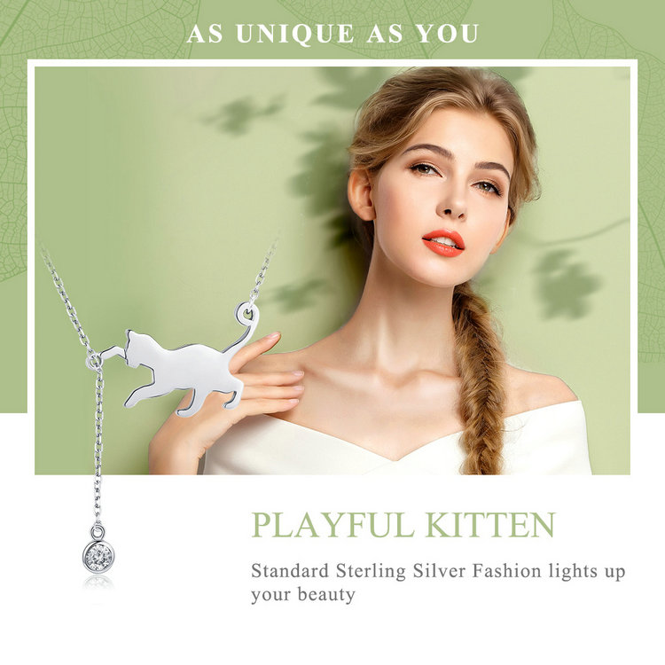 HTB1NurNn9BYBeNjy0Feq6znmFXaG BAMOER Fashion Genuine 925 Sterling Silver Cute Pet Pussy Cat Chain Pendant Necklace for Women Sterling Silver Jewelry SCN232