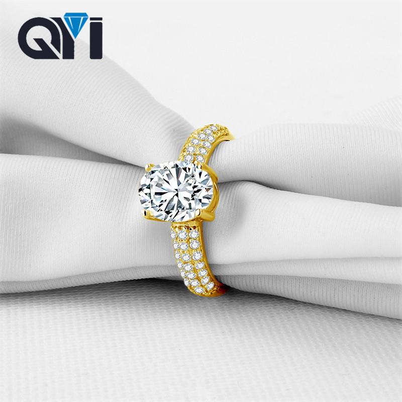 QYI Women Jewelry Rings Oval Cut Sona Simulated Diamond 14K Solid Yellow Gold Engagement Wedding Band Ring Free ShippingQYI Women Jewelry Rings Oval Cut Sona Simulated Diamond 14K Solid Yellow Gold Engagement Wedding Band Ring Free Shipping