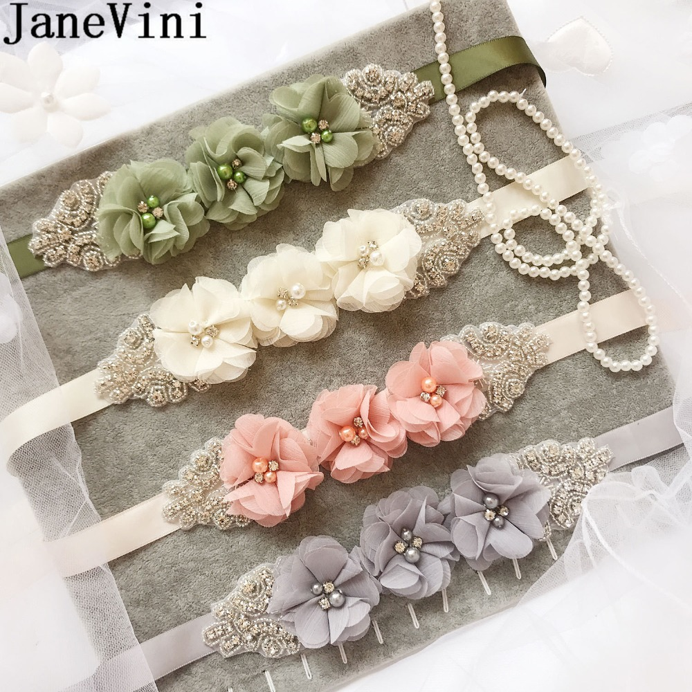 Flower Belts For Wedding Dresses: JaneVini Elegant Pearl Bead Belt For Prom Party Wedding