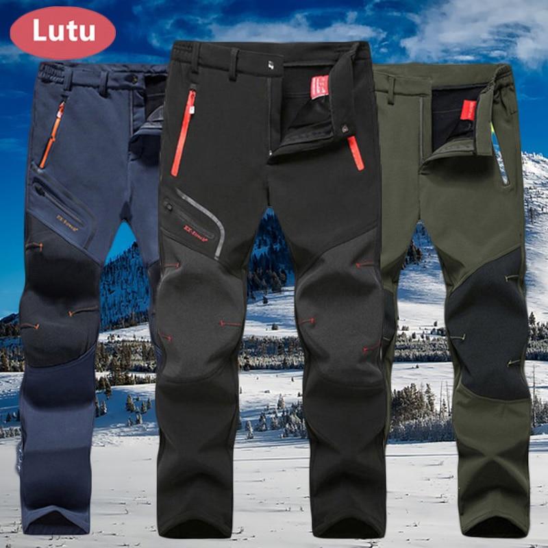 LUTU cálido Otoño Invierno Softshell Senderismo Pantalones Hombres Pantalones impermeables al aire libre Deportes Camping Trekking ciclismo esquí paño grueso y suave pantalones