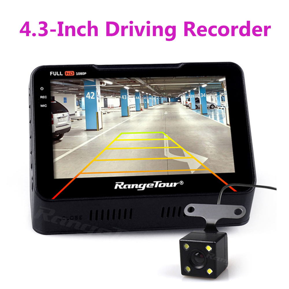 B90s Plus Dashboard Car Camera DVR 2018 New 4.3 LCD Dash Cam + Rear Camera Video Recorder 170 Degree Dual Lens Full HD 1080P