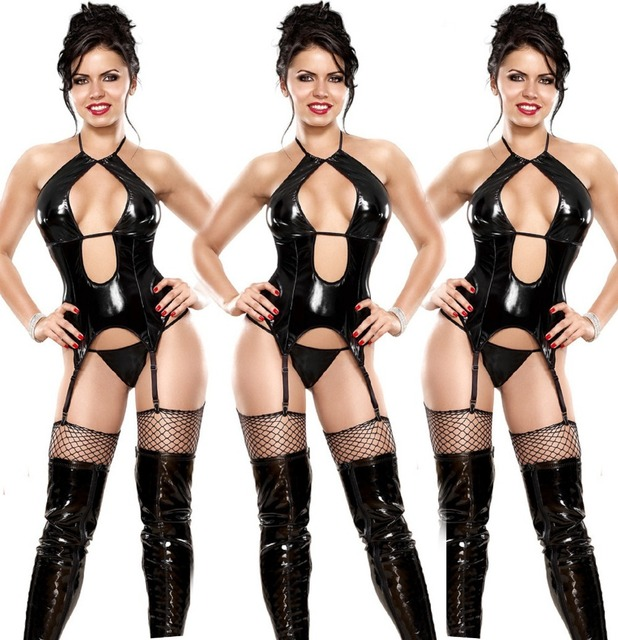 7e967daba6558 Hot Sell Female Sexy Black Halter Faux Leather Latex Open Cup Bra G-string  Lingerie Set Leather Erotic Lingerie Corset Sleepwear