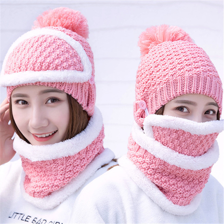 Explosion Hats Increase Villus Line Hat Edition Sweet Ma'am Autumn And Winter Knitting Autumn And Winter Keep Warm Scarf Set