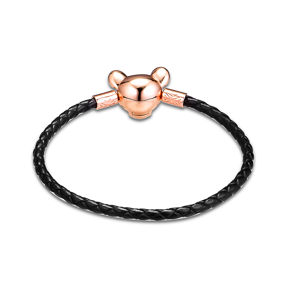 Image 4 - BLACK LEATHER BRACELET WITH LIONESS CLASP For Woman Jewelry Making Fashion Female Sterling Silver Jewelry Bracelets-in Strand Bracelets from Jewelry & Accessories
