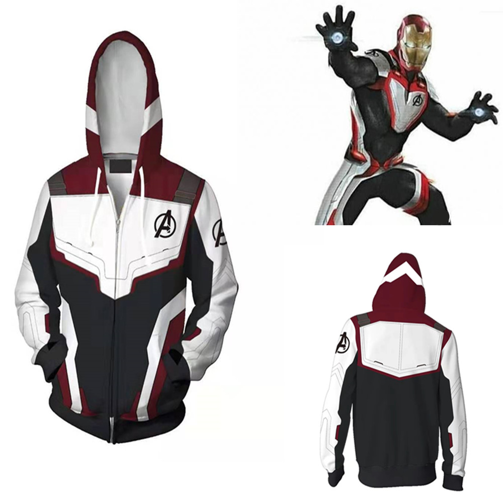 Avengers Endgame Quantum Realm Sweatshirt Jacket Advanced Tech Hoodie Cosplay Costumes 2019 new superhero Iron Man Hoodies suit(China)