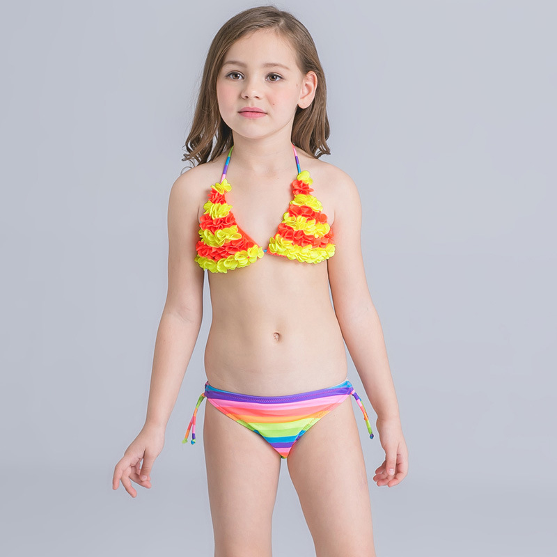 ae4f3f9a267c3 Bikini Set Junior Girls swimsuit cute little fish swimming suit infant Girl  Children Bathing Suit For