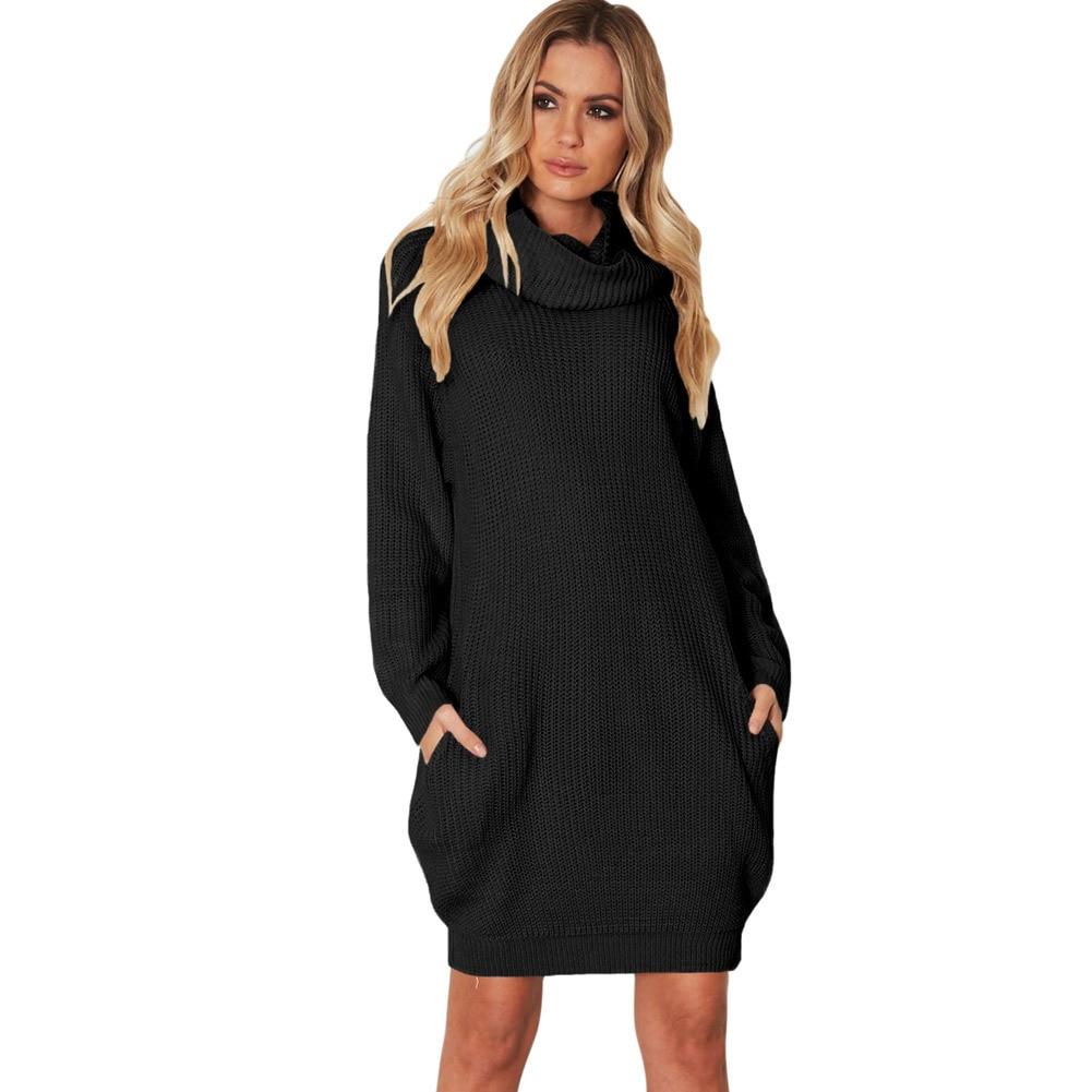 Rib Ladies Pullovers High Knitted Harajuku Women khaki gray Women's Autumn 2018 Sweater Black Winter Collar American New European Long HwBCvq