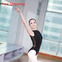 2016 New Cotton Spandex Sleeveless Ballet Leotard Suit Sexy Lace High Neck Open Back Women Adult