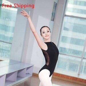 Image 1 - Nouveau coton Spandex sans manches Ballet justaucorps costume Sexy dentelle col haut dos ouvert femmes adultes filles danse Ballet justaucorps