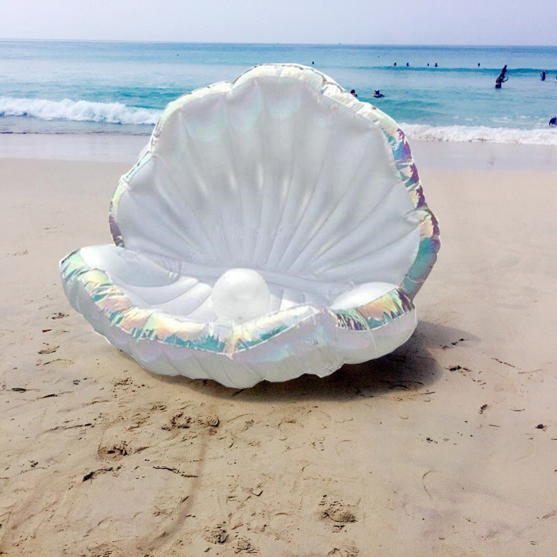 Giant-Pool-Float-Shells-Inflatable-In-Water-Floating-Row-Pearl-Ball-Scallop-Aqua-Loungers-Floating-Air