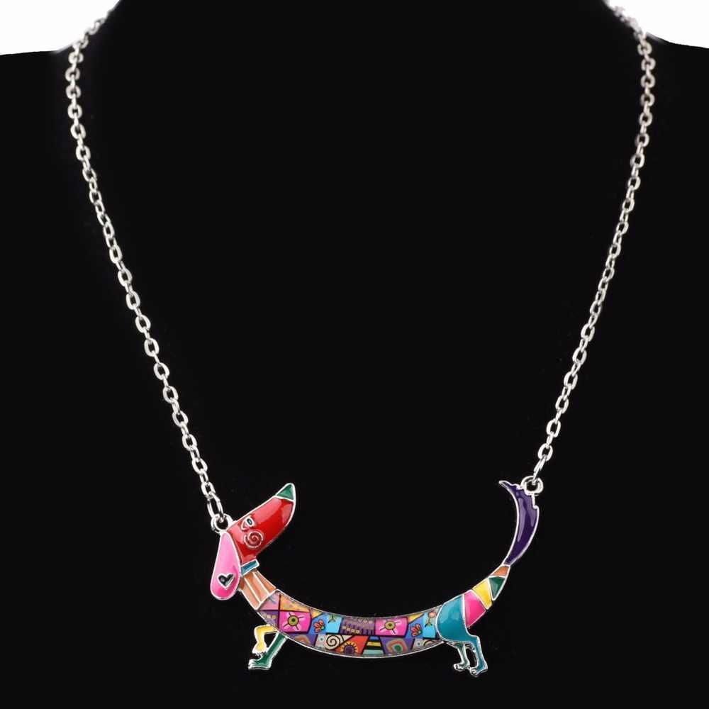 Bonsny Pernyataan Maxi Logam Rantai Enamel Pet Dachshund Anjing Kalung PendantCollar Choker 2017 New Animal Jewelry Untuk Wanita Gadis