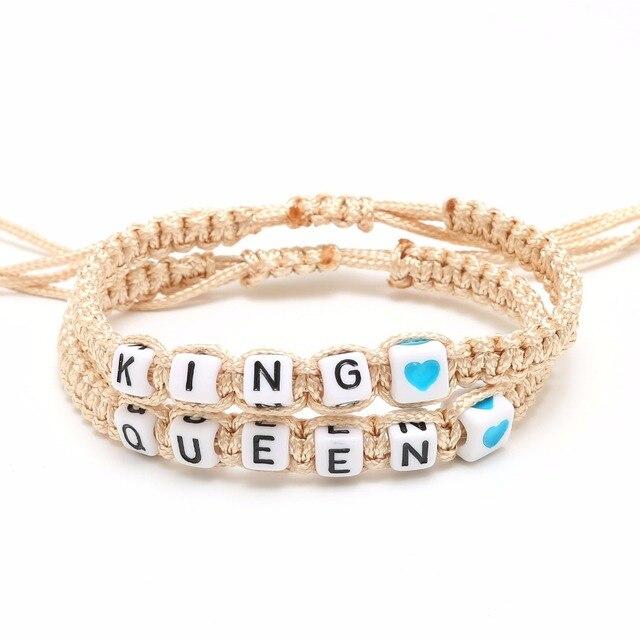 2pcs Pair Bracelet Handmade Queen King Key Lock Braided Promise For S