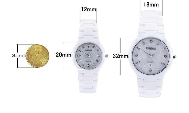 Мужские Женские часы черные 100% керамические кварцевые мужские женские наручные часы календарь алмаз водонепроницаемые женские мужские часы RGENS бренд