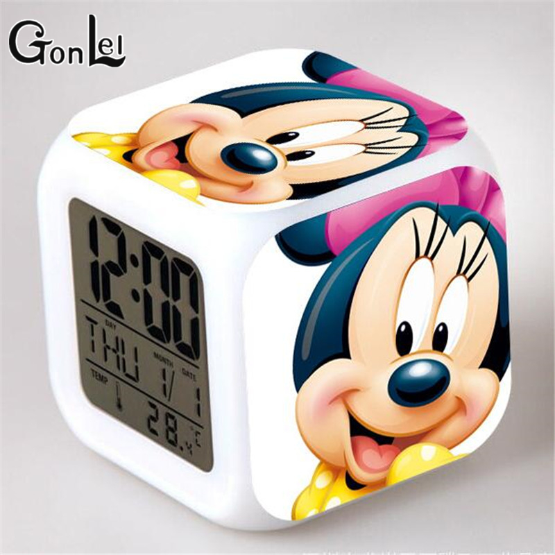 GonLeI American Lovely Mickey Mouse Or Minnie Mouse Stuffed animals Action Figure Toys Led Alarm Clocks Anime Toys Kids Gift 2015 new 1 piece 28cm 30cm mini lovely mickey mouse and minnie mouse stuffed soft plush toys christmas gifts
