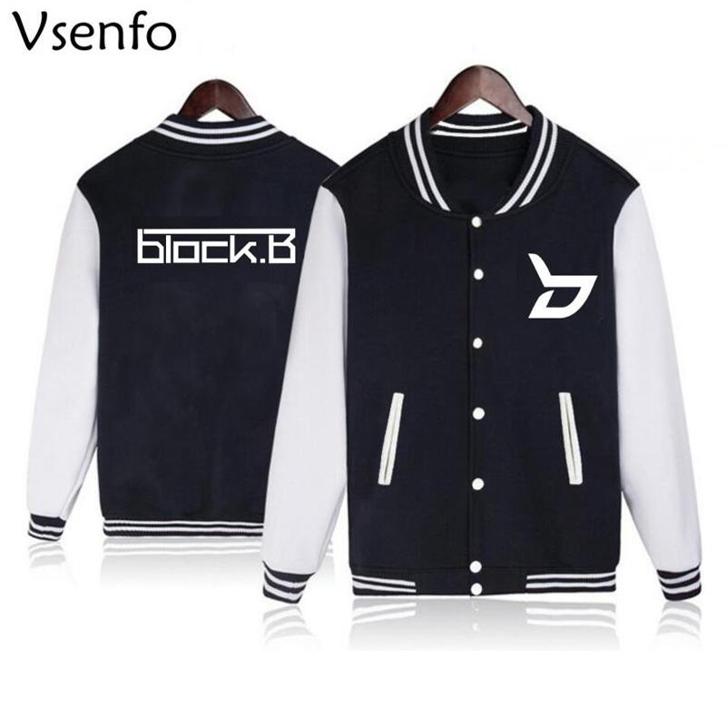 Vsenfo Kpop Block B Sweatshirt Women Men Harajuku Sweatshirt Black Fleece Baseball Jacket Coat For Boys
