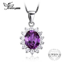 JewelryPalace Princess Diana William Kate Middleton's 3.2ct Alexandrite Created Sapphire Pendant 925 Sterling Silver Jewelry