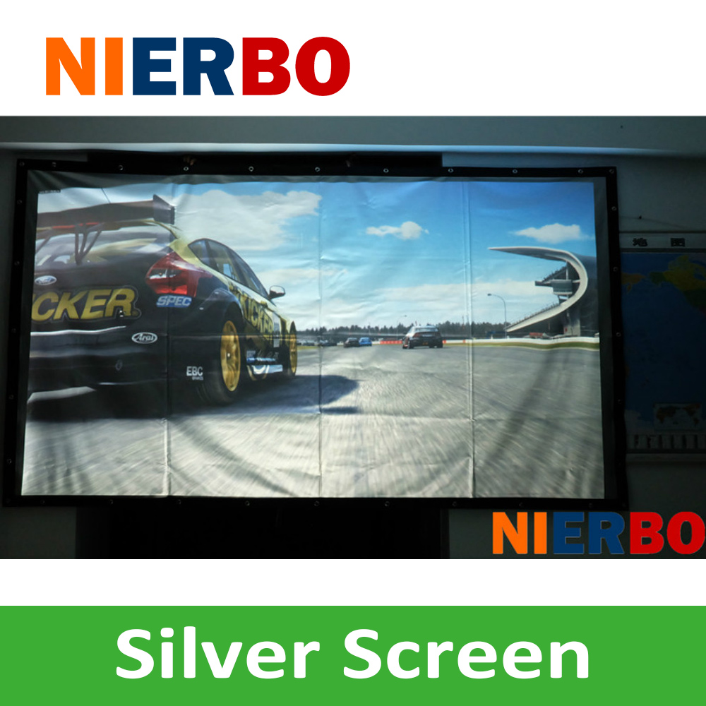 Wholesale 3D Portable Silver Projection Screen 16:9/4:3 180Inches HD Projector Accessory Screen fpr all projectors nierbo 250 inches rear screen 16 9 4 3 hd home cinema portable rear projection screen wall mounted shop business show business