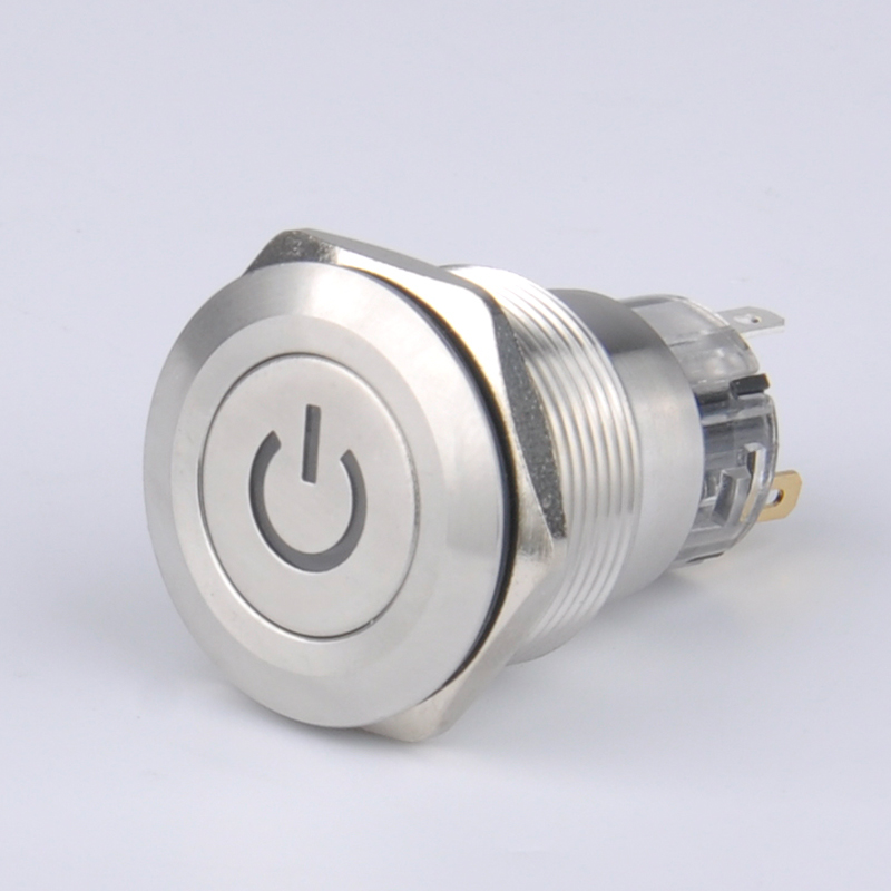 RGB 22MM Waterproof latching Metal PushButton Switch  stainless steel shell selflock 1NO 1NC flat head led power with light